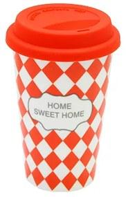 Cana Sweet Home din portelan rosu 10x15 cm