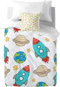 Husă pilotă și pernă din bumbac pentru copii Mr. Fox Space Rocket, 140 x 200 cm
