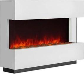Klarstein Studio 1 semineu electric cu LED-uri pentru flacără 750/1500 W 40 m² ,din sticlă / MDF alb