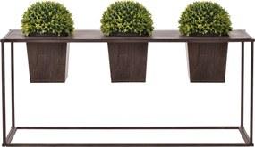 [casa.pro]® Suport flori cu 3 ghivece, pentru exterior, 39 x 85 x 24 cm , metal,maro inchis