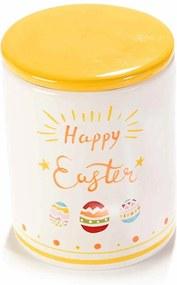 Borcan decorativ model Happy Easter ceramica galben alb Ø 10 cm x 16 H