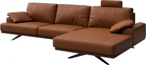 Canapea cu colt maro scortisoara din piele si metal pentru 4 persoane Prado Right Mesonica