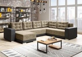 Expedo Set canapea în formă de U DEER, 315x90x220, berlin 03/negru piele ecologică