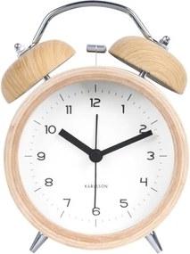 Ceas alarmă cu decor ca de lemn Karlsson Classic bell, alb, ⌀ 10 cm
