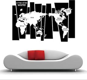 Sticker perete World Map Black