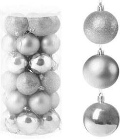 Set globuri Craciun, pentru brad, din plastic, 6cm, 30 buc, argintiu