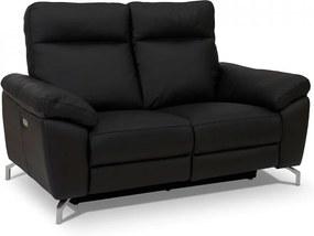 Canapea neagra din piele si metal pentru 2 persoane Selesta Furnhouse