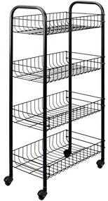 430400 Metaltex Cărucior de bucătărie cu 4 coșuri Pisa, negru