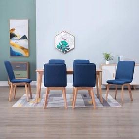 276925 vidaXL Scaune de bucătărie 6 buc. albastru, textil & lemn stejar masiv