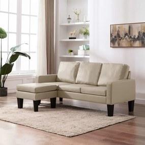 288774 vidaXL Canapea cu 3 locuri și taburet, cappuccino, piele ecologică