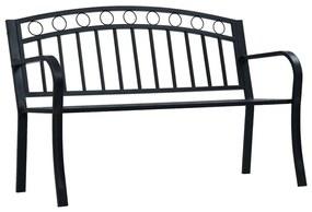 47945 vidaXL Bancă de grădină, negru, 125 cm, oțel