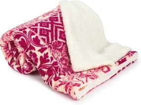 Pătură din lână 4Home Flowers, roz, 150 x 200 cm