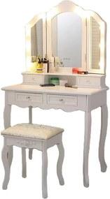 Set Anelise, Masă de toaletă cu 3 oglinzi iluminate LED, control touch, 4 sertare, scaun, Alb