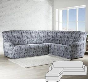 Huse cu două elastice ASTRATO gri canapea cu otoman stânga (l. 170 - 200 cm)