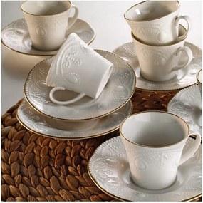Set 6 cești din porțelan pentru cafea cu farfurie Stitched