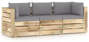 3074556 vidaXL Canapea de grădină cu 3 locuri, cu perne, lemn verde tratat