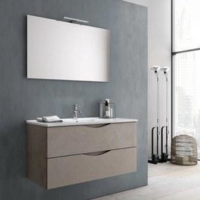 Set de baie cu 4 piese OSLO, Melamina Aluminiu Abs Sticla Ceramica Metal, Bej deschis, 101x46.5x190 cm