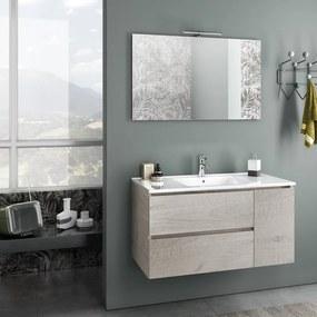 Set de baie cu 4 piese FLAM, Melamina Aluminiu Abs Sticla Ceramica Metal, Maro, 101x46.5x190 cm