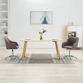 283488 vidaXL Scaune de sufragerie pivotante, 2 buc., gri taupe, textil