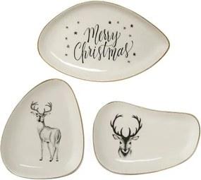 Set 3 Farfurioare Noel Plate, White