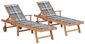 3073200 vidaXL Șezlonguri cu pernă gri model carouri, 2 buc, lemn masiv tec