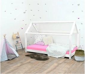 Pat pentru copii, din lemn de molid fără bariere de protecție laterale Benlemi Tery, 80 x 160 cm, alb