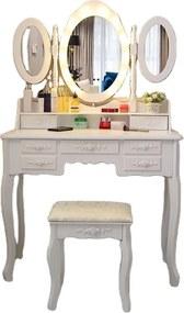 Set Ilinca, Masă de toaletă cu 3 oglinzi iluminate LED, control touch, 7 sertare, scaun, Alb