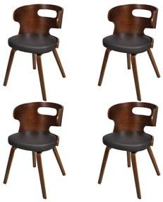 270041 vidaXL Scaune de bucătărie 4 buc., maro, lemn curbat & piele ecologică