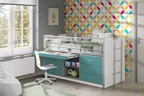 Pat etajat din pal si metal cu birou incorporat si 3 sertare, pentru copii Bonny Alb / Turcoaz, 200 x 90 cm