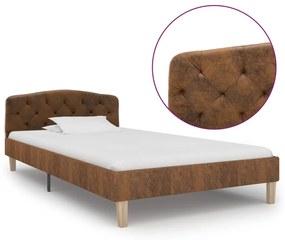 284937 vidaXL Cadru de pat, maro, 100 x 200 cm, piele întoarsă ecologică