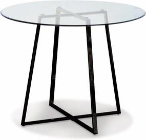 Masa Rotunda din Sticla si Metal Negru FRANK 97cm OPJET PARIS - Sticla Transparent Diametru (97cm) x Inaltime (75cm)