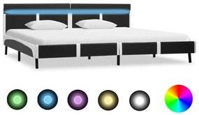 280311 vidaXL Cadru de pat cu LED, gri, 180 x 200 cm, piele artificială