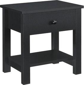 Noptiera Eda, 40 x 29,7 x 41,5cm, placa MDF,negru, cu un sertar