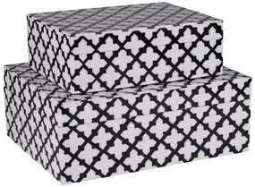 Set 2 cutii pentru depozitare Canvas alb negru