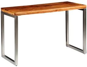 242126 vidaXL Masă de bucătărie lemn masiv sheesham birou cu picioare de oțel