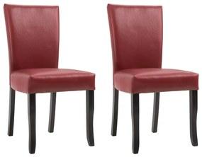 249042 vidaXL Scaune de sufragerie, 2 buc., roșu vin, piele ecologică