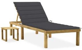 3065834 vidaXL Șezlong de grădină cu masă și pernă, lemn de pin tratat