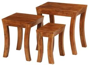 246101 vidaXL Set mese suprapuse,3 piese,lemn masiv acacia, 50x35x50 cm, maro