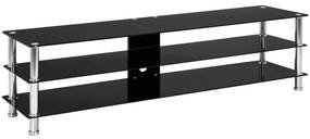 280090 vidaXL Stativ TV, negru, 150x40x40 cm, sticlă securizată