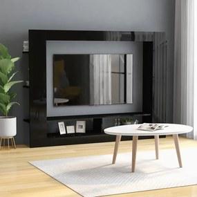 800745 vidaXL Comodă TV, negru lucios, 152 x 22 x 113 cm, PAL