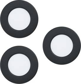 Set 3 spoturi incastrate, FUEVA 5, EGLO, LED, 3X2.7W, 900 lm, lumina calda, otel, negru, plastic, alb, 8.6 x 7.5 x 2.6 cm, A++