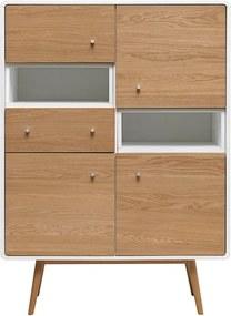 Vitrină din lemn de stejar alb Unique Furniture Turin