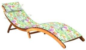 3061584 vidaXL Șezlong de grădină cu pernă, lemn masiv de acacia