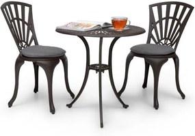 Blumfeldt Valletta 3 buc. BistroSet masă și 2 scaune pentru relaxare, dinaluminiu turnat sub presiune bronz-maro