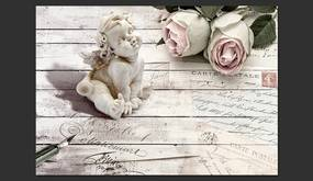 Fototapet Bimago - Angel and Roses + Adeziv gratuit 350x245 cm