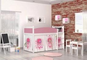 Expedo Pat cort pentru copiiSWING + saltea + somieră GRATIS, 184x80, alb/model CASTEL PRINCESS/roz