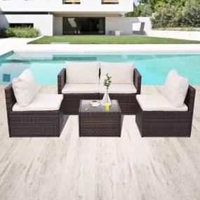 Set mobilier de grădină, 13 piese, poliratan, maro