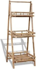 Suport pliabil pentru plante cu 3 rafturi din lemn de bambus