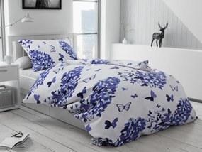 Lenjerie de pat creponata Butterfly albastra