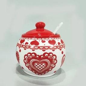 Recipient pentru zahar Winter din ceramica alba 8 cm
